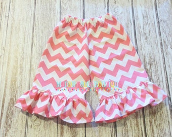 Cute Pink Chevron Ruffle Pants or Capris - Ruffle Pants, Ruffle Capris, Chevron Pants, Chevron Capris, Pink, Girls Ruffle Pants