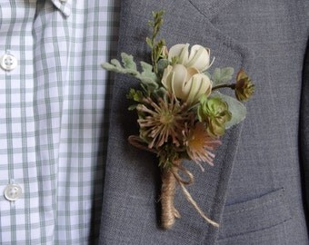 Wedding Boutonniere (Boutineer) - Mixed Ivory Flowers with Succulents and Greenery in Burlap Twine