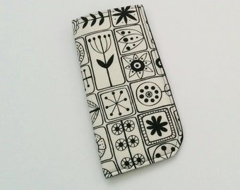 Black and White Eyeglass Case, Black Eyeglass Case, Eyeglass Holder, Sunglasses Case, Eyeglass Pouch