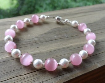 Gorgeous Baby Pink Cat's Eye with pearls and sterling silver spacers with Mag Loc clasp