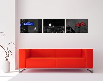 New York Photography/black and white photography/set of 3 prints/living room decor/New York print skyline/New Yorker/Empire state art