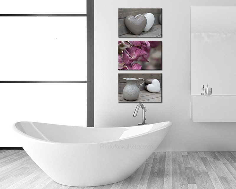 Bathroom Pictures And Canvases : Bathroom decor set of canvases art rustic