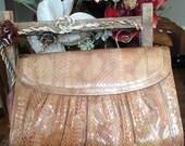 Vintage Snakeskin Tan clutch wuth magnetic enclosure