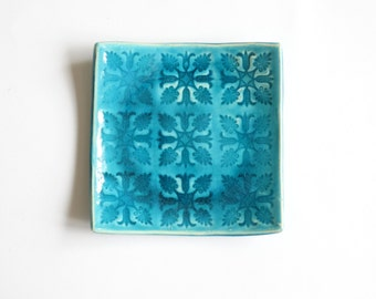 ceramic jewelry holder, blue small plate, tealight holder with texture table decoration, decorative plate, hand made stamped ceramic platter