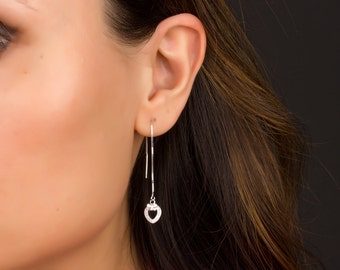 Sterling Silver Threader Earrings, Ear Thread Earrings, Chain Earrings, Heart Earrings, Ear Threader, Silver Ear Threads,   0069EM