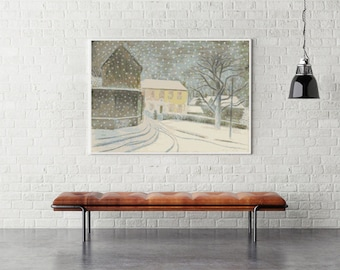 Counted Cross Stitch KIT, Printed CHART Halstead Road in Snow by Eric Ravilious