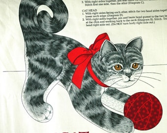 Cat Doll, Fabric Panel, Cotton Print, VIP Cranston, Gray Striped Tabby, Kitty, Cloth Stuffed, 14 Inch, B10