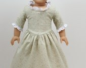 Sage Floral Print 1770s American Girl style 18inch Doll Dress