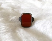 Handsome Vintage Art Deco Unisex Rectangle Carnelian 800 Silver Ring Size 8