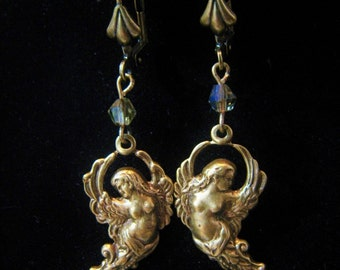 Art Nouveau Victorian Style Winged Goddess Angel Woman Dangle Earrings Repousse Antique Brass Lever Back Champagne Swarovski Beads