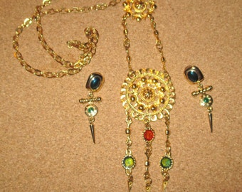 1920's Vintage High-End GORGEOUS Heavy Solid 18kt Gold Plated Enamel Medallion Necklace & MATCHING Earrings SET excellent cond/craftsmanship