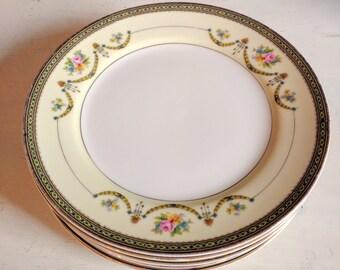 Vintage China Plates, 6 Noritake 1920s Dessert Plates, Salad Plates, Bread and Butter Plates, Vintage Wedding Decor