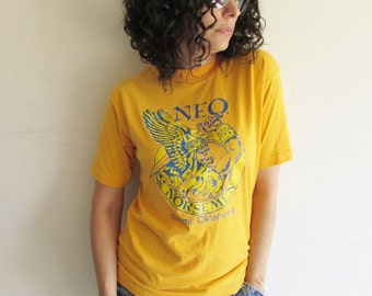 Vintage Yellow and Blue NEO Norsemen Miami Oklahoma College T Shirt