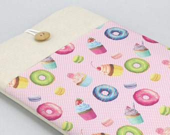 Pink Laptop Sleeve, Laptop case, Laptop Cover, Custom, Lenovo case, Dell laptop sleeve, Carbon X1 case, front pocket, donuts, cupcakes