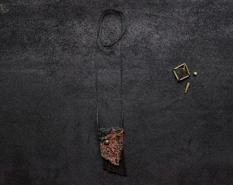 NOMAD MEMORIES NECKLACE - Unique Crocheted Copper Wire, Leather and String Fringes