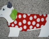 """Reversible Fleece Dog Coat, Red & White Polka Dots x-small (7-10 lbs), fully lined. 14.5""""+ girth"""