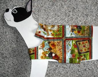"Gardener's Delight Dog Shirt, medium (20-25 lb./ 23"" girth) Whimsical Country Garden Quilt Shirt. All cotton, flannel lined."
