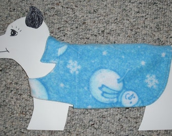"""Cool Blue Snowman Fleece Dog Coat size x-small (7-10 lbs./girth 14"""") with reversible cotton lining. Cozy Warm."""