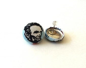 Abraham lincoln honest abe fabric button earrings