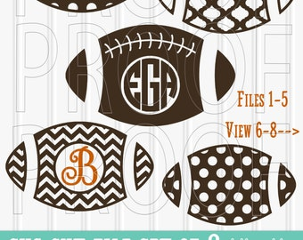 Monogram SVG Files Set of 8 cutting files includes svg/png/jpg formats! Commercial use approved! football svg sports svg monogram football