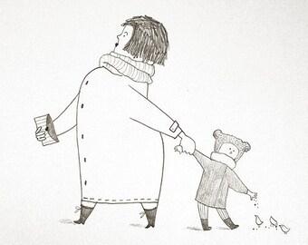 Parents and kids drawing Mother and baby art Fun family art Walking illustration Girl illustration Gray humor drawing Original art