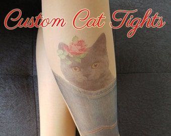 Custom  Cat Printed Tights, Personalized Cat Tights, Tattoo Tights, Pantyhose, Custom Animal print