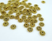 Spacer Bead - Daisy Spacer Bead (AB145AG) - Antiqued Gold - 6.5mmx2mm - Qty. 50 pcs