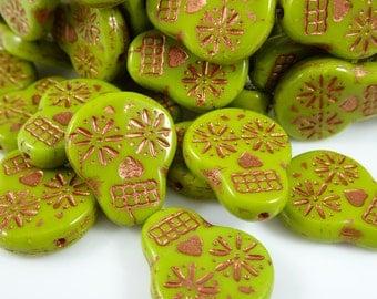 Czech Beads, Czech Glass Sugar Skull Beads - Chartreuse Green with Metallic Copper Sugar Skull (SS/RJ-2900) - 20mmx17mm - Qty. 4