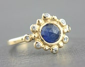 Blue Sapphire and Diamond Ring 14k Yellow Gold Rose Cut Sapphire Diamond Gold Ring Size 6-6,5 Sapphire Engagement Ring