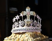 Embellished Metal crown, crown decor, pink crown, Mediterranea Design Studio, embellished tiara, princess tiara, cake topper