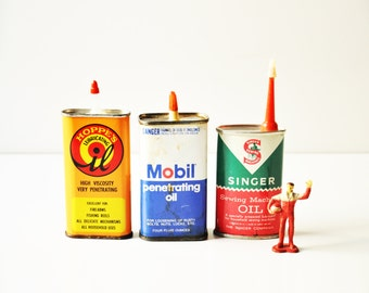 Three Vintage Lubricating Oil Tin Cans - Mobil - Hoppes - Singer