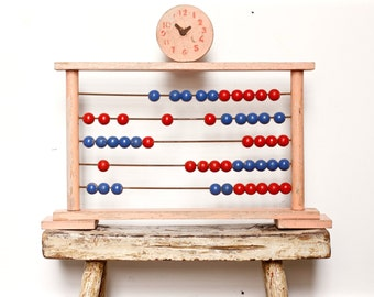 Large Vintage Wooden Abacus - French Antique Decor - Art Deco Counting Beads