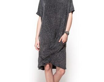 Short dress / evening dress / oversize dress / silver dress / peplum dress / lurex silver dress