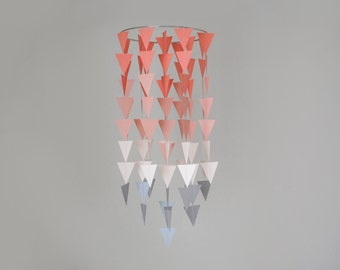 Triangle Chandelier Mobile - Coral Rose Gray Ombre // Nursery Mobile - Choose Your Colors