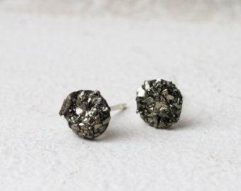 Gold Stud earrings Gold pyrite stud Earrings Christmas Gold earrings Pyrite stud earrings Jewelry Gift For Her Gift under 25