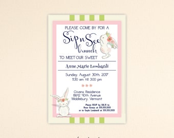 Sip and See Invitation - Sip and See Invites - Sip and See Girl Invitations -  Sip n See Invitation - Sip n See Shower - SS25001