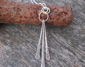 Sterling silver pendant necklace, ring and rod forged pendant, hammered silver, designed and handmade by ARC Jewellery UK