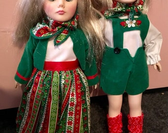 """Effanbee Doll Pair Hansel And Gretel 11,"""" Storybook, Original Boxes Included"""