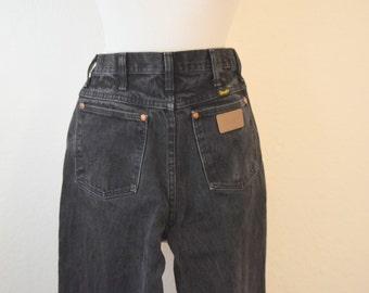 High Waist Black Denim 'Wrangler' Jeans / Pants - Women's 29 X 34 / Medium