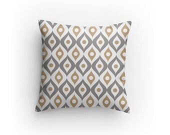 Grey, White and Tan Designer Pillow