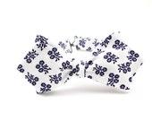 White Self Tie Bow Tie With Navy Blue Flowers / Diamond Point Shape