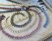 Chevron chain-6.5mm flat link chevron chain, herring bone, fish bone chain-great for jewelry, mixed media, steampunk, DiVinci,Art Deco-KR892