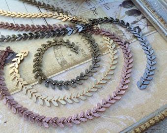 Chevron chain-Herring bone, fish bone-6.5mm flat chevron chain-great for jewelry, necklaces mixed media, steampunk, DiVinci,Art Deco-KR892