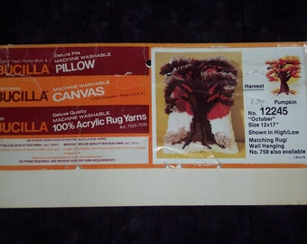 """Latch Hook Pillow,Tree pattern,partial vintage Bucilla kit #12245,""""October"""",printed canvas with instructions"""