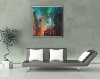 Original Abstract Painting Large Acrylic Stretched Canvas Galaxy