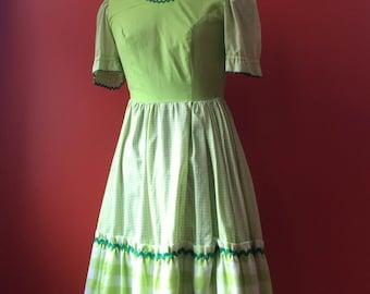 Lime Green Gingham Vintage Dress