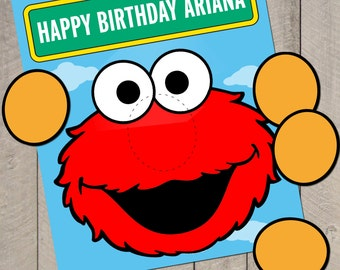 DIY Personalized Sesame Street Pin the Nose on Elmo Birthday Party Game Printable Poster File by Carta Couture