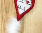 Heart Cat toy, Felt cat toy, Valentine heart cat toy, pet toy