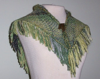 Hand-woven Willow Green, Cotton Shawl