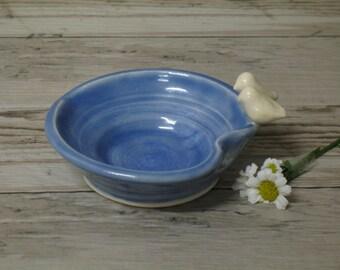 Blue Heart and Bird Jewelry dish ring Holder / Hand Made Ceramic Stoneware / Pottery by Heidi